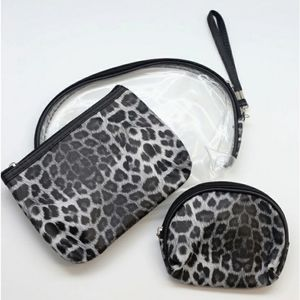 NWT 3-Piece Animal Print Travel Pouch Set in Black